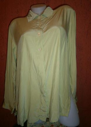 Красивая  длинная блуза винтаж шелк длинный рукав