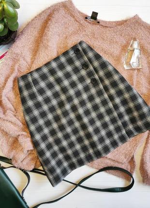 Теплая юбка в клетку на запах
