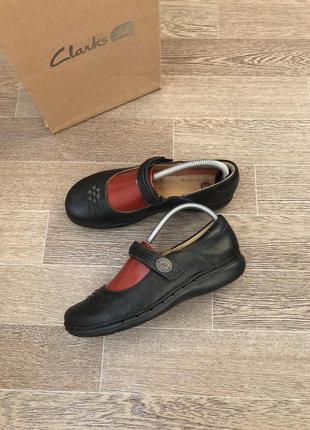 Clarks structured кожаные туфли балетки 39.5р