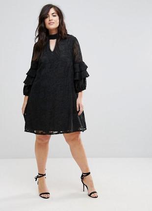 Платье с объемными рукавами и выжженным цветочным принтом asos lovedrobe plus size