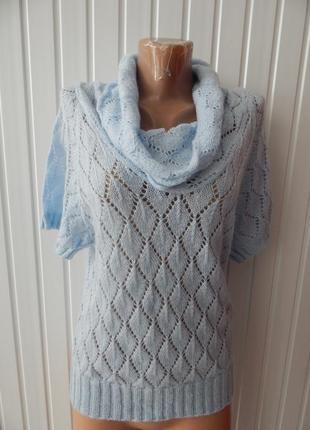 Женский свитер с коротким рукавом и широким воротом cop.copine р.l голубой