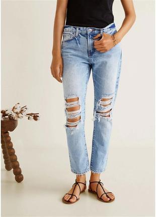 В наличии. джинсы рваные, mango, бойфренд, размер 40,8,12