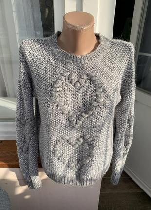 Серый тёплый базовый свитер,с шерстью