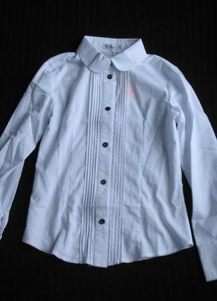 Нарядная школьная белая блузка, рубашка brilliant на 146 см