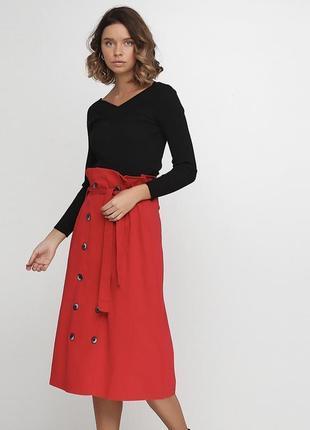 🔥распродажа🔥 юбка высокая посадка завышенная талия ниже колен хлопок на пуговицах с поясом