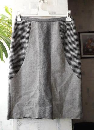 Теплая шерстяная юбка карандаш футляр миди высокая посадка завышенная талия