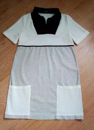 Очень крутое платье футболка из льна и шелка.