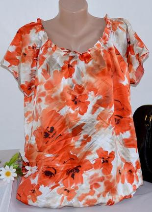 Брендовая яркая атласная блуза bm вьетнам принт цветы