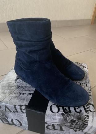 Темно-синие замшевые сапоги luciano carvari