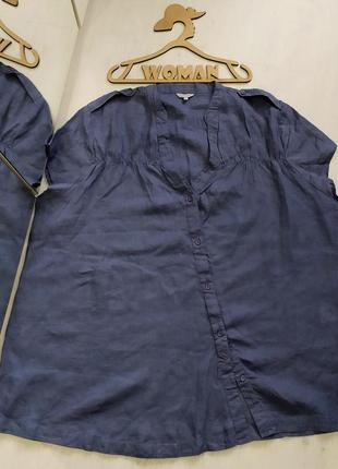 Льняная блуза,рубашка большой размер.