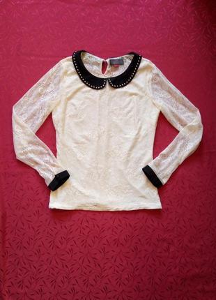 Кружевная ажурная блуза с чёрным воротничком (cropp chillin)