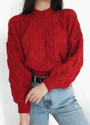 Обьемный укороченый свитер, крупная вязка, шерстяной свитер