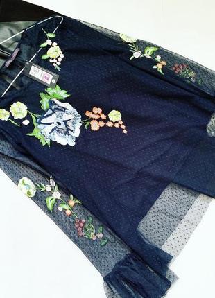 Фатиновая блуза с вышивкой marks&spencer большой размер!