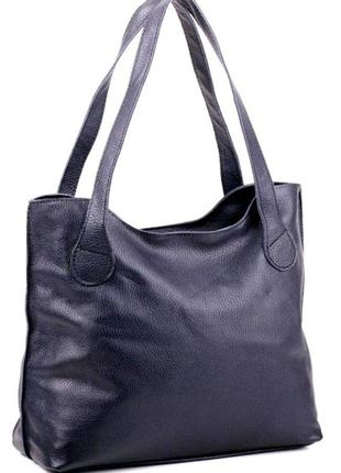 Практичная женская сумочка из натуральной мягкой кожи синий
