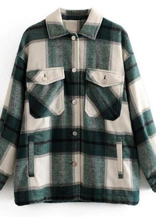 Рубашка в клетку плотная теплая в стиле zara