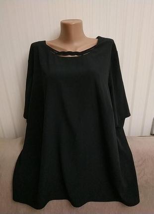 Базовая черная блузка с коротким рукавом, р 52