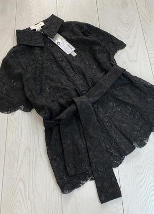 Полупрозрачная блуза с поясом