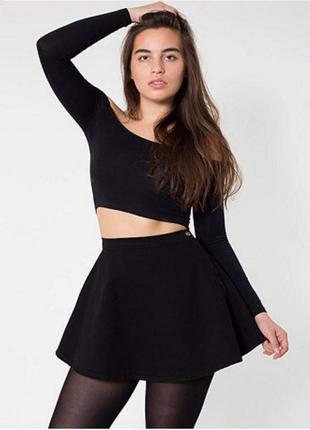 Джинсовая чёрная юбка мини солнце от american apparel