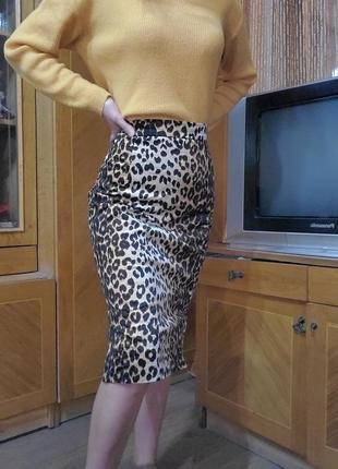 Юбка миди, бархатная, велюровая леопард, леопардовая юбка, животный принт лео