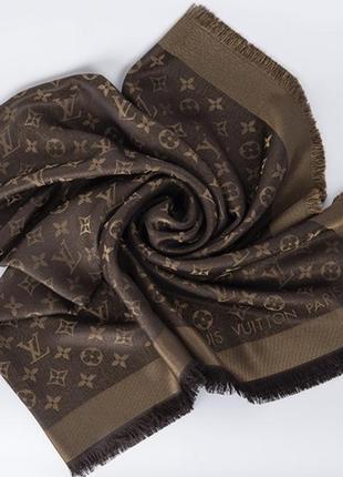 Шарф шаль платок louis vuitton monogram с люрексом  оригинал с номером 50% шерсть, 50% шёл