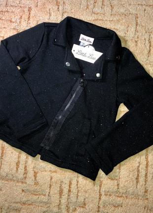Чёрная кофта, жакет на молнии с блестками little lass moto jacket