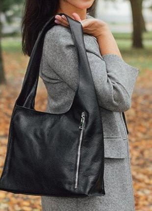 Женская стильная сумка из натуральной телячьей кожи черный