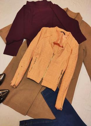 Mohito оранжевый персиковый пиджак коттон хлопок классический укороченный