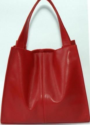 Фантастическая сумка шоппер из натуральной мягкой кожи