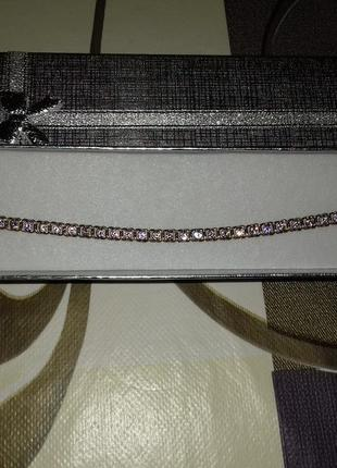 Браслет з рожевими камнями срібло 925°