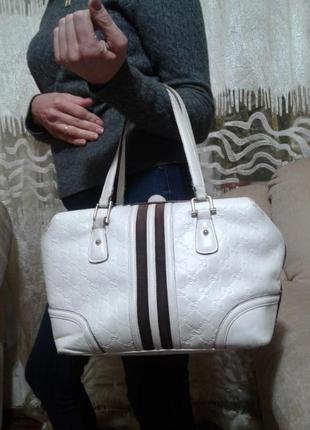 Винтажная сумка gucci, италия (оригинал) белая кожа
