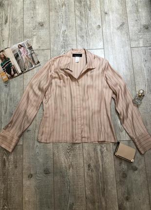 Шелковая блузка персиковая в полоску jones new york