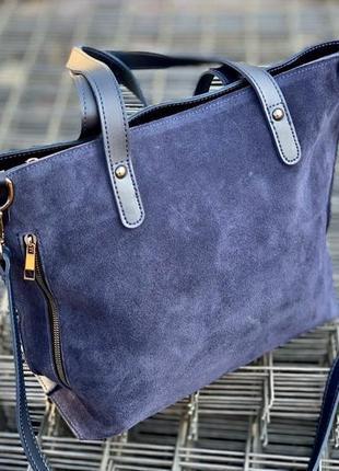 Синяя сумка из замши
