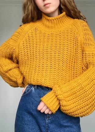 Идеальный горчичный свитер крупной вязки от h&m