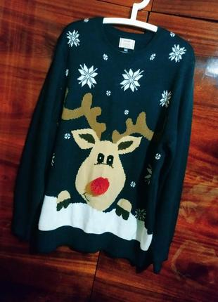 Свитер новогодний кофта свитшот рождественский зимний праздничный олень широкий унисекс
