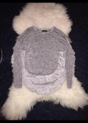 Zara джемпер реглан люрексовая блуза полукруг