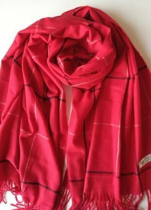 Шикарный красный кашемировый шарф, палантин в тонкую клетку