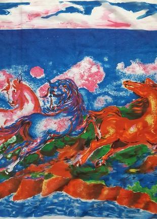 Платок картина, нарисована  вручную, подпись автора.