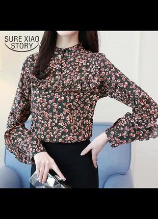 Винтажная шифоновая блузка с воланами цветочный принт