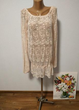 Удлиненная блуза, туничка кружевная ажурная/ горячая цена! скидки!