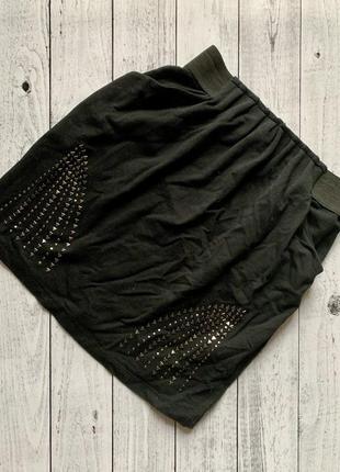 Чёрная юбка bershka s бершка классическая спідниця в офис школу