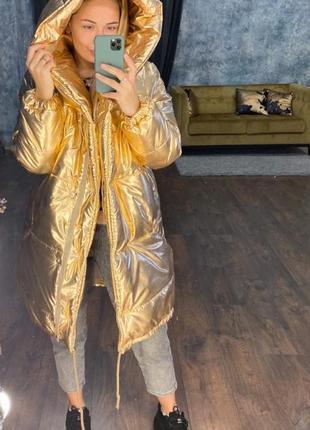Теплая зимняя куртка зефирка ''золото''