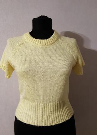 Короткая желтая кофточка с коротким рукавом fabiani