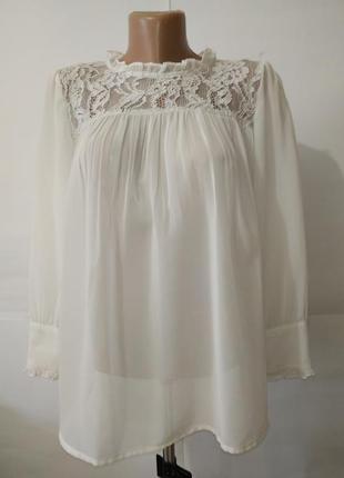 Блуза белая кружевная нарядная next uk 16/44/xl