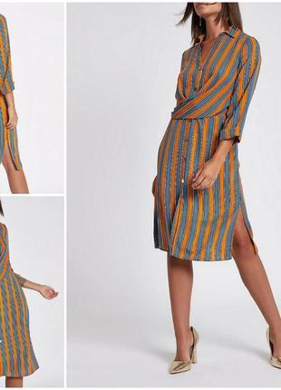 Красивое платье рубашка с длинным рукавом в полоску