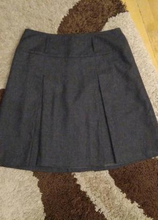 Полушерстяная юбка трапеция с складками