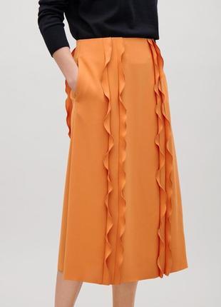 Крутая оранжевая миди юбка от cos