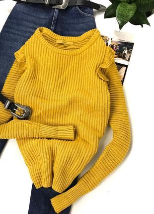 Тёплый желтый свитерок с рюшами плотной вязки next