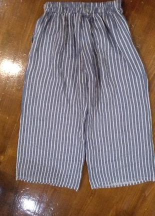 Кюлоты классные льняные укороченые брюки в полоску today