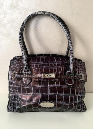 Шикарная перламутровая сумка из натуральной кожи под крокодила италия