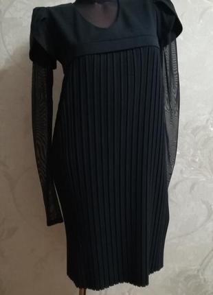 Модная плиссировка, суперское темно-синее платье, гольф-сеточка - в подарок!